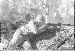 SVT rifle with Lahti mag in wartime photo of a Finnish soldier